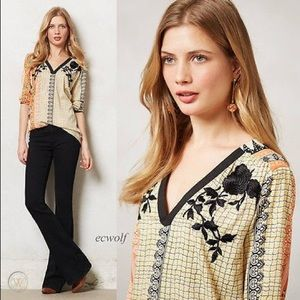 """Anthro """"Vineet Bahl"""" Embroidered Mixed Print Top"""